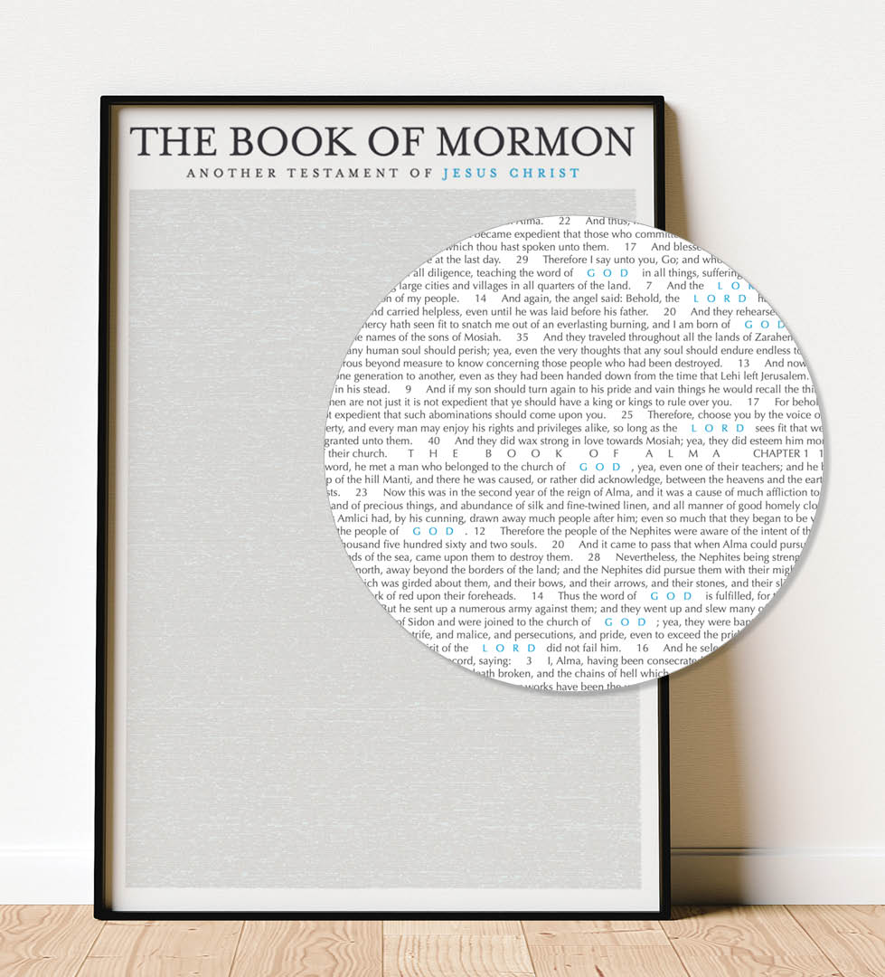 LDS Book of Mormon Poster showing blue highlights