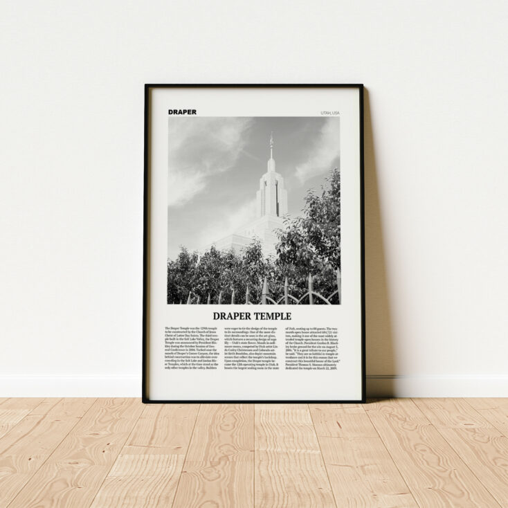 Draper LDS Temple Poster Print Wall Art Not Framed