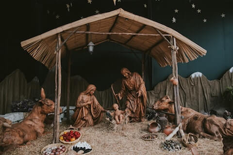 Jesus Christ Being Born in Bethlehem in a Stable on Christmas day