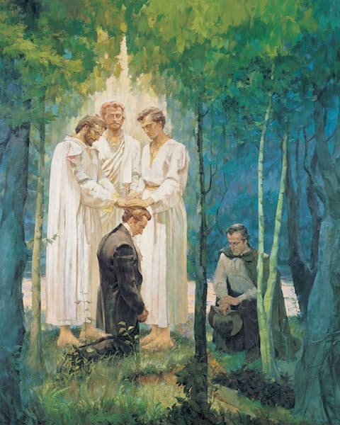 Joseph Smith Receiving Priesthood From Peter James and John