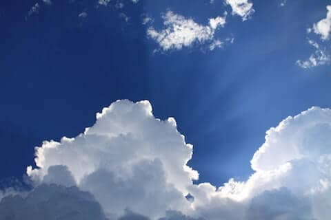 Glorious looking clouds in the sky symbolizing salvation